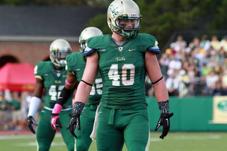 Linebacker Ian Haislip (via tribeathletics.com by Bob Keroack)