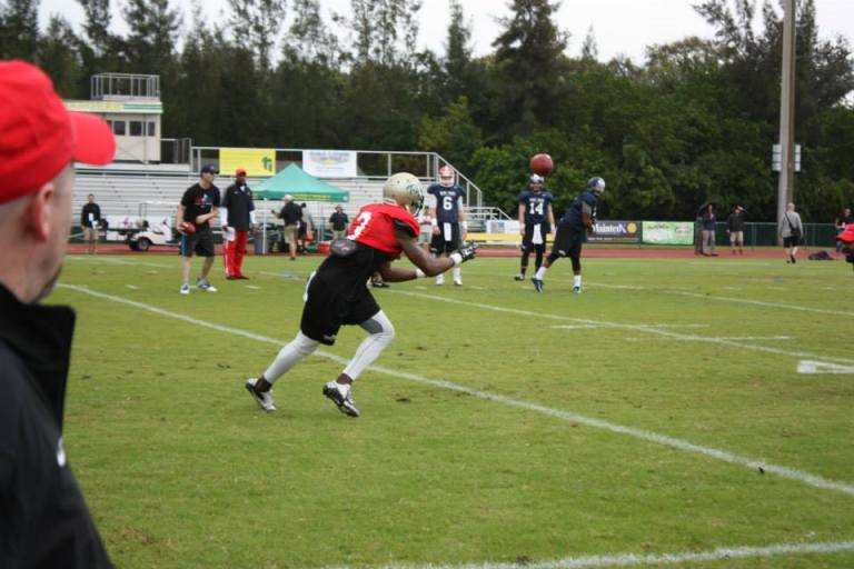 Another day at the office for Tre McBride [Photo via 'East West Shrine Game' Facebook Page]