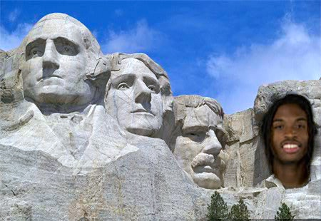 Marcus Thornton joins another Tribe great (Thomas Jefferson, second from the left) atop Mt. Rushmore in the lore of W&M history