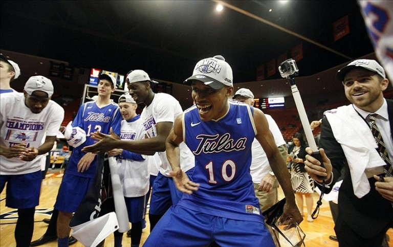 James Woodard after Tulsa qualified for the NCAA Tournament in 2014  [Photo: Ivan Pierre Aguirre-USA TODAY Sports]