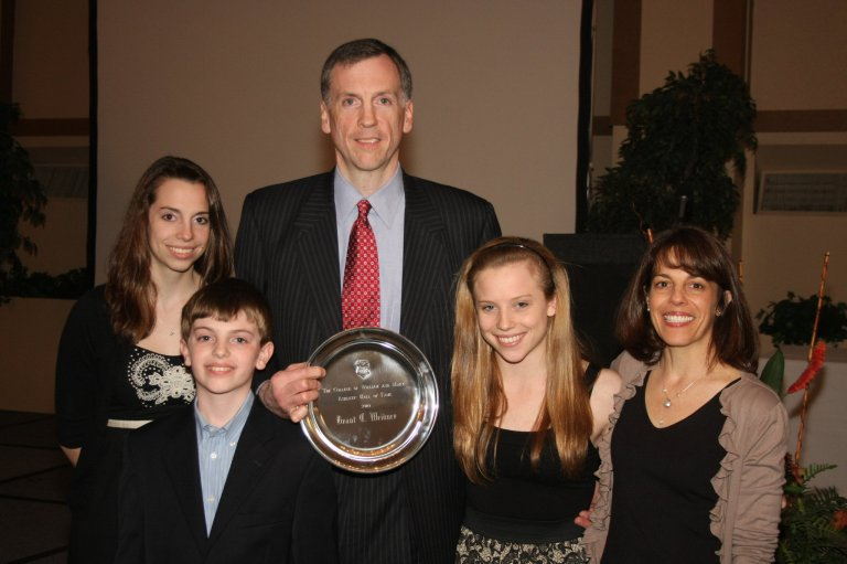 Weidner with his family after being inducted into the W&M Athletic Hall of Fame in 2010
