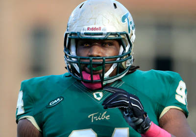 Coleman sported the red contacts during his Senior season at W&M [via tribathletics.com]