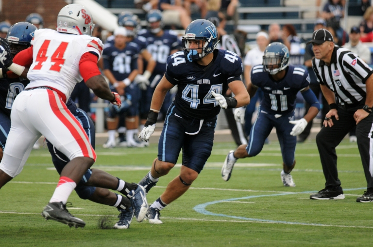 Don Cherry mans the middle of the Villanova defense, and is the Wildcats' best player on defense. [photo: caasports.com]
