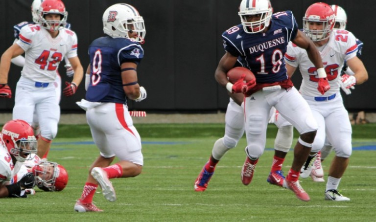 #18 Chris King makes up a strong receiving core for Duquesne. [photo: duqsm.com]