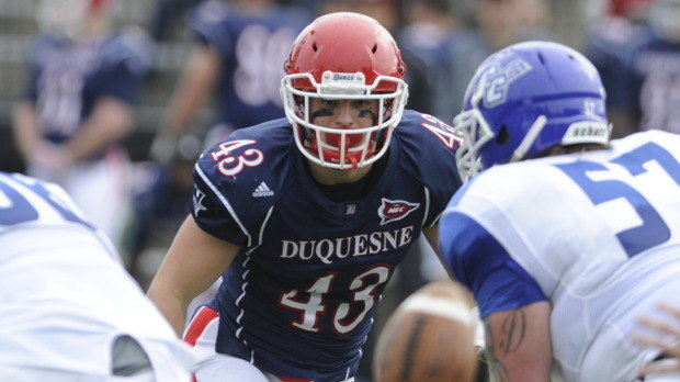 Linebacker Christian Kuntz leads a Dukes defense that ranks #1 in scoring offense in the NEC. [photo: necovertime.com]