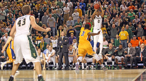 The Shot: Daniel Dixon's semifinal game winning, buzzer beating 3 pointer over Hofstra last year. Never. Forget. [photo: tribeathletics.com]