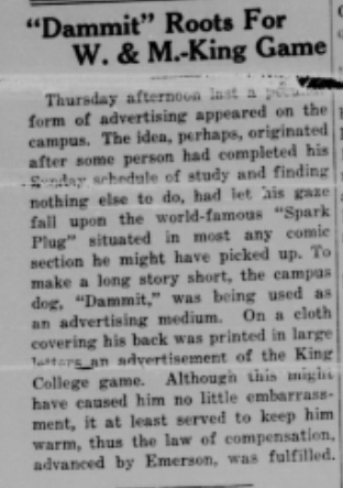 Flat Hat, November 1924 --Dammit, the campus dog.