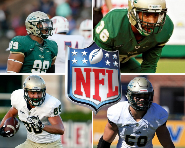 Tyler Claytor (Chicago Bears), DeAndre Houston-Carson (Chicago Bears), Christian Reeves (Kansas City Chiefs), and Luke Rhodes (Tampa Bay Buccaneers) have all either been drafted or have earned NFL Camp Invites. [photos: tribeathletics.com]