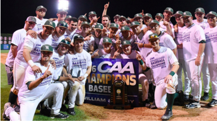 Victory, sweet Victory. Your 2016 CAA Champions, the William & Mary Tribe. [photo: tribeathletics.com]