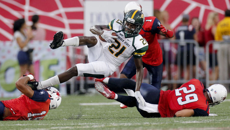 Norfolk State was shut out by a strong Richmond squad a week ago. [photo: Mark Gormus/Times-Dispatch]