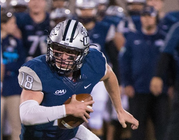 The only pictures we could find of UNH's QB Trevor Knight were of him running the ball...Get the hint? [photo: unhwildcats.com]