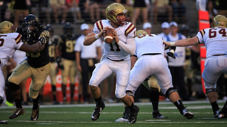 Elon's QB Daniel Thompson will lead the Phoenix offense on Saturday [photo: americansportsnet.com]