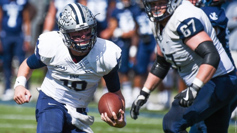 UNH earned its first CAA victory last week in a 39-17 win over the Rhode Island Rams. The Wildcats accumulated 407 yards of total offense in the win. [photo: unhwildcats.com]