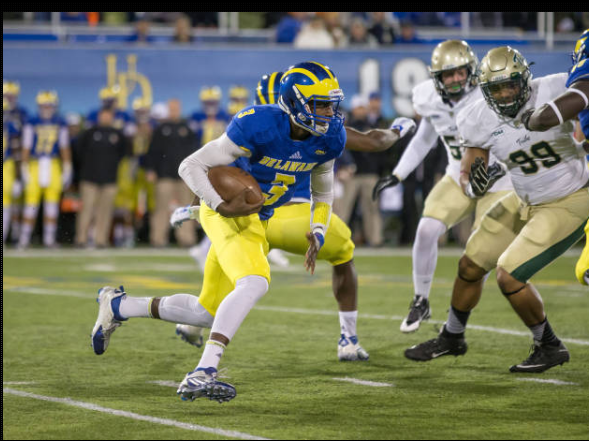 Delaware QB Joe Walker was hard to stop late in the game last year, finishing with 71 passing yards for 1 TD, 0 INT, and 63 rushing yards. [photo: bluehens.com]