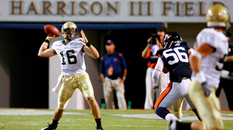 R.J. Archer (a Charlottesville Native) led the Tribe to a 26-14 win over UVA in 2009, marking the Green and Gold's last win vs. an FBS opponent. (photo via wm.edu)