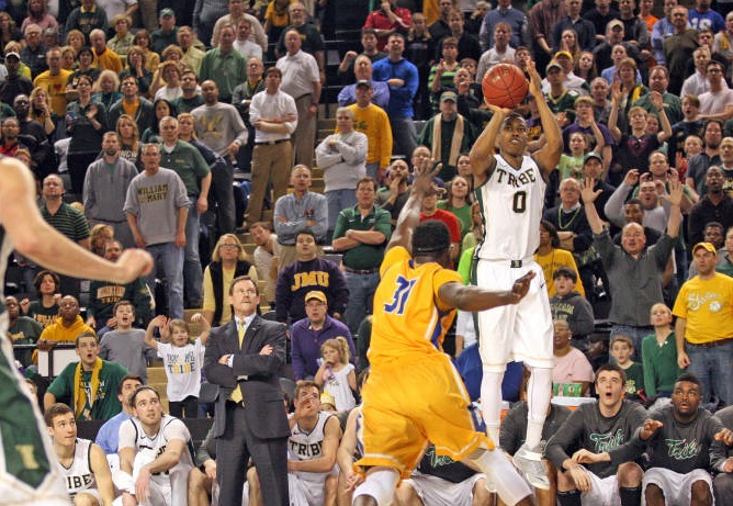 """The Shot,"" which will forever live in infamy. Daniel Dixon's last-second, game winning 3 point shot vs. Hofstra in the 2015 CAA Tournament. [photo: tribeathletics.com]"