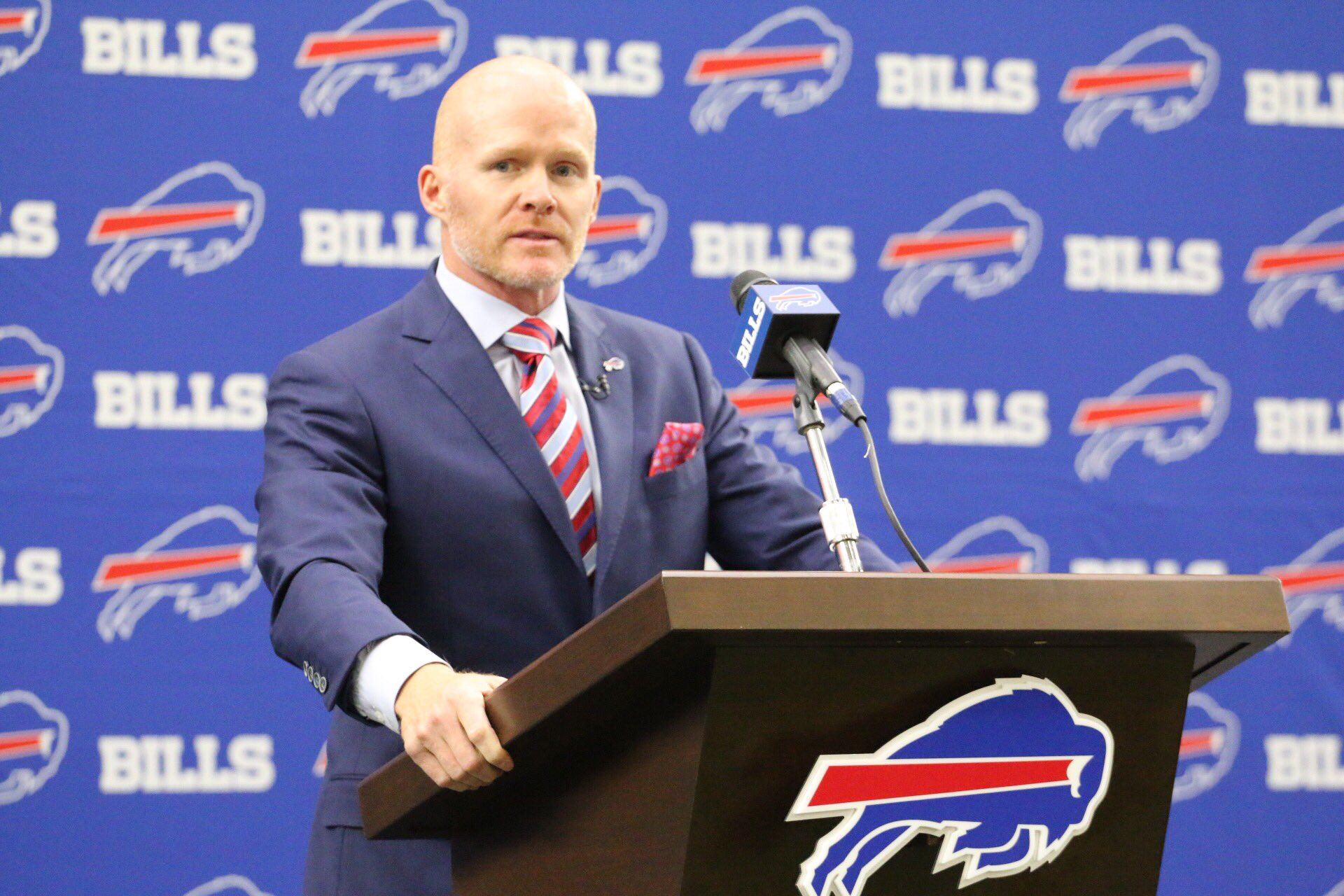 Head Coach Sean McDermott sure looks good in Bills colors. (photo via buffalobills.com)